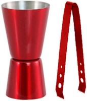 King International Red Coloured Bar Tool Set Of 2 - Jigger And Tong 2 - Piece Bar Set (Stainless Steel)