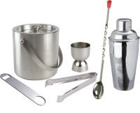 THW Ice Bucket , Tong, Peg Measurer, Bottle Opener, Bar Spoon & Cocktail Shaker 6 - Piece Bar Set (Stainless Steel)