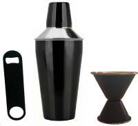 Dynamic Store 3 Pc Black Cocktail Shaker, Double Sided Peg Measure And Bottle Opener 3 - Piece Bar Set (Stainless Steel)