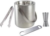 THW Ice Bucket, Tong, Bottle Opener & Peg Measurer 4 - Piece Bar Set (Stainless Steel)