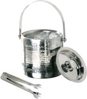 THW Double Wall Hammered Ice Bucket With Tong 2 - Piece Bar Set (Stainless Steel)