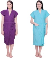 Simrit Purple-Light Blue-BR-7-BTR101-8-BTR101-10 Free Size Bath Robe 2 BATH ROBE, For: Women, Purple-Light Blue-BR-7-BTR101-8-BTR101-10