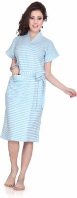 Sand Dune Stripes Bath Robe Blue, White