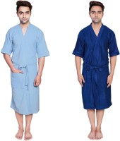 Simrit Light Blue-Blue-MBR-7-MB101-8-MB101-4 Free Size Bath Robe 2 Bath Robes, For: Men, Light Blue-Blue-MBR-7-MB101-8-MB101-4