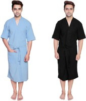 Simrit Light Blue-Black-MBR-7-MB101-8-MB101-1 Free Size Bath Robe 2 Bath Robes, For: Men, Light Blue-Black-MBR-7-MB101-8-MB101-1