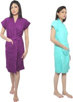 VeenaDdesigner Purple, Light Blue Free Size Bath Robe 2 Bath Robe, For: Women, Purple, Light Blue