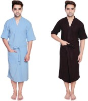 Simrit Light Blue-Brown-MBR-7-MB101-8-MB101-6 Free Size Bath Robe 2 Bath Robes, For: Men, Light Blue-Brown-MBR-7-MB101-8-MB101-6