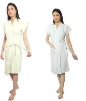 VeenaDdesigner Yellow, White Free Size Bath Robe 2 Bath Robe, For: Women, Yellow, White - BRBECHWDZZMY8PVW