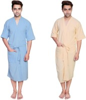 Simrit Light Blue-Yellow-MBR-7-MB101-8-MB101-5 Free Size Bath Robe 2 Bath Robes, For: Men, Light Blue-Yellow-MBR-7-MB101-8-MB101-5