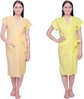 Simrit Yellow-Yellow Free Size Bath Robe 2 BATH ROBE, For: Women, Yellow-Yellow