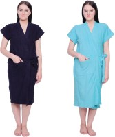 Simrit Purple-Light Blue Free Size Bath Robe (2 BATH ROBE, For: Women, Purple-Light Blue)