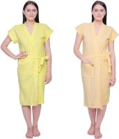 Simrit Yellow-Yellow-BR-1-BTR101-2-BTR101-15 Free Size Bath Robe 2 BATH ROBE, For: Women, Yellow-Yellow-BR-1-BTR101-2-BTR101-15