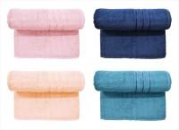 BOMBAY DYEING Cotton Set Of Towels (4 LARGE SIZE TOWEL SET, PINK, DARK BLUE, PEACH, DARK GREY)