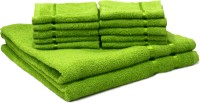 Story@Home Cotton Bath & Face Towel Set 2 Bath Towel And 10 Face Towel, Green