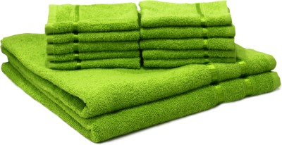 Story@Home Cotton Bath & Face Towel Set 2 Bath Towel And 10 Face Towel, Green