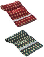 ShopSince Cotton Bath Towel ShopSince Green & Red Cotton Bath Towels Set Of 2, Multicolor