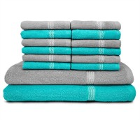 Swiss Republic Cotton Bath & Face Towel Set (2 Bath Towels, 12 Face Towels, Light Blue, Light Grey)