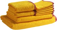Trident Solid Cotton Bath, Hand & Face Towel Set 1 Bath Towel, 1 Lady Bath Towel, 2 Hand Towels, 5 Face Towels, Yellow
