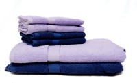 Trident Cotton Bath & Hand Towel Set 2 Bath Towels 30x60 Inches, 4 Hand Towels 16x24 Inches, Light Blue, Dark Blue