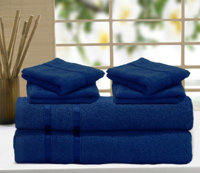 Story@home Cotton Bath & Hand Towel Set 2 Pc Bath Towel, 4 Pc Hand Towel, Blue - BTWEDH8ARZNZP5FV
