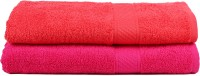 Trident Cotton Set Of Towels 2 Women Bath Towel, Pink, Red