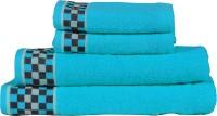 RR Textile House Cotton Bath, Hand & Face Towel Set 4, Blue