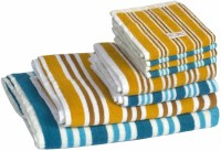 Skumars Love Touch Cotton Bath, Hand & Face Towel Set 1 Gents Bath Towel, 1 Ladies Bath Towel, 2 Hand Towels, 4 Face Towels, Turquoise Blue, Yellow