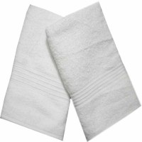 ShopSince Cotton Bath Towel ShopSince Set Of 2 White Cotton Bath Towels, White