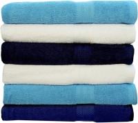 Rakshan Cotton Bath Towel Set (Pack Of Towel 6, Blue, White, Navy Blue, White, Blue, Royal Blue)