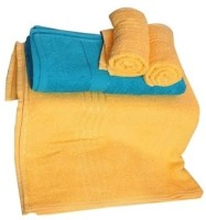Trident Everyday Cotton Bath Towel Set 2 Bath Towel, 2 Hand Towels, Yellow, Blue