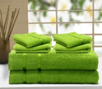 Story@home Cotton Bath & Hand Towel Set 2 Pc Bath Towel, 4 Pc Hand Towel, Green