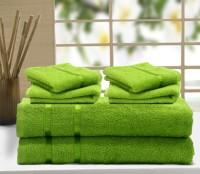 Story@home Cotton Bath & Hand Towel Set 2 Pc Bath Towel, 4 Pc Hand Towel, Green