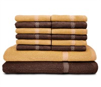 Swiss Republic Cotton Bath & Face Towel Set (2 Bath Towels, 12 Face Towels, Dark Brown, Light Brown)