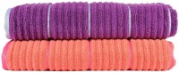 Casa Copenhagen Solid Ribbed Zero Twist Fusion Coral & Sparkling Grape Bath Towel Set (2 Bath Towel, Orange, Purple)