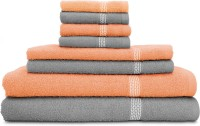 Swiss Republic Cotton Bath, Hand & Face Towel Set 2 Bath Towels, 2 Hand Towels, 4 Face Towels, Light Grey, Light Pink