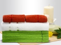 Story@home Cotton Bath, Hand & Face Towel Set 2 Pc Hand Towel + 1 Pc Bath Towel + 10 Pc Face Towel, Orange