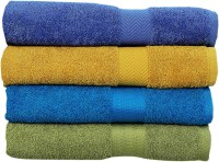 Rakshan Cotton Bath Towel Set (Pack Of Towel 4, Blue, Yellow, Royal Blue, Green)