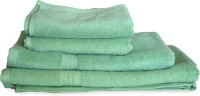Skumars Love Touch Premia Cotton Bath, Hand & Face Towel Set 2 Bath Towel, 2 Hand Towel, Green