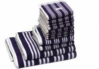 Skumars Love Touch Cotton Bath, Hand & Face Towel Set 1 Gents Bath Towel, 1 Ladies Bath Towel, 2 Hand Towels, 8 Face Towels, Dark Blue