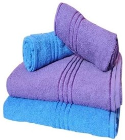 Trident Everyday Cotton Bath Towel Set (2 Bath Towel, 2 Hand Towels, Blue, Purple)