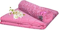 Handloomhub Collection Of Floral Design Cotton Bath Towel (2 Bath Towels, Pink)