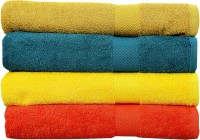 Rakshan Cotton Bath Towel Set (Pack Of Towel 4, Dark Yellow, Blue, Yellow, Orange)