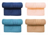 BOMBAY DYEING Cotton Set Of Towels (4 LARGE SIZE TOWEL SET, DARK BLUE, PEACH, DARK GREY, BROWN)