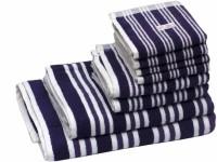 Skumars Love Touch Cotton Bath, Hand & Face Towel Set 1 Gents Bath Towel, 1 Ladies Bath Towel, 2 Hand Towels, 4 Face Towels, Dark Blue