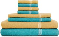 Swiss Republic Cotton Bath, Hand & Face Towel Set 2 Bath Towels, 2 Hand Towels, 4 Face Towels, Light Blue, Light Brown
