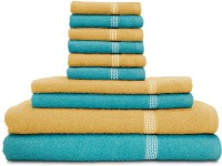 Swiss Republic Cotton Bath, Hand & Face Towel Set (2 Bath Towels, 2 Hand Towels, 6 Face Towels, Light Blue, Light Brown)