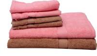The Home Story Cotton Bath & Hand Towel Set 2 Bath Towels 30x60 Inches, 4 Hand Towels 16x24 Inches., Pink, Brown