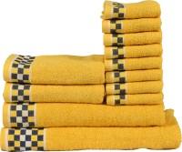 RR Textile House Cotton Bath, Hand & Face Towel Set 12, Yellow