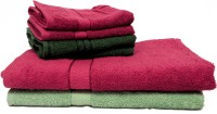 Trident Cotton Bath & Hand Towel Set 2 Bath Towels 30x60 Inches, 4 Hand Towels 16x24 Inches, Green, Light Green, Maroon