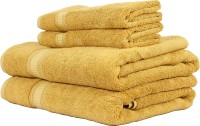 Trident Solid Cotton Bath & Hand Towel Set 2 Bath Towel, 2 Hand Towel, Gold